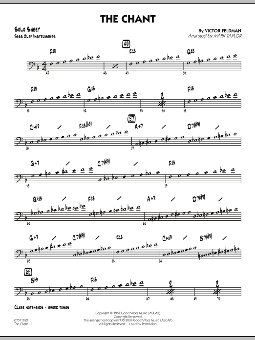 Mark Taylor The Chant - Bass Clef Solo Sheet sheet music notes and chords. Download Printable PDF.