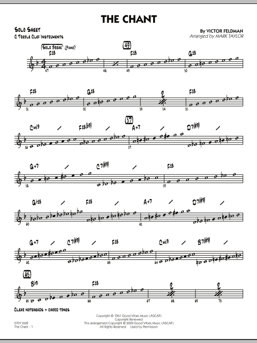 Mark Taylor The Chant - C Solo Sheet sheet music notes and chords. Download Printable PDF.