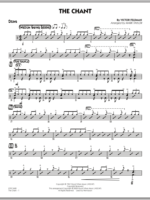 Mark Taylor The Chant - Drums sheet music notes and chords. Download Printable PDF.