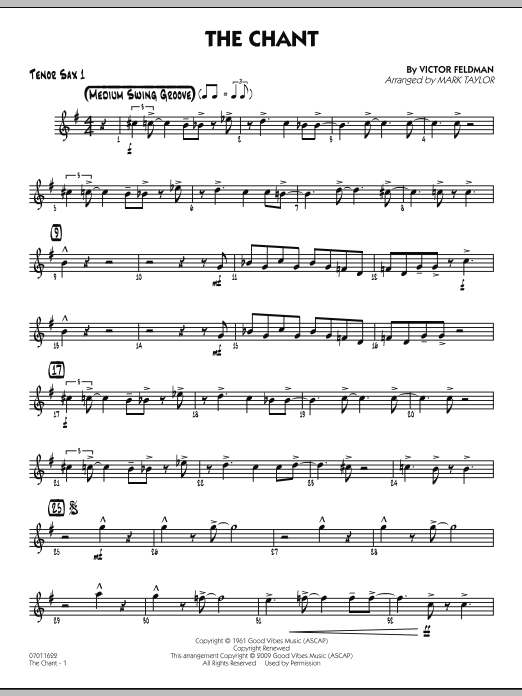 Mark Taylor The Chant - Tenor Sax 1 sheet music notes and chords. Download Printable PDF.