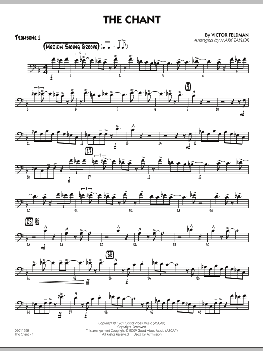 Mark Taylor The Chant - Trombone 1 sheet music notes and chords. Download Printable PDF.