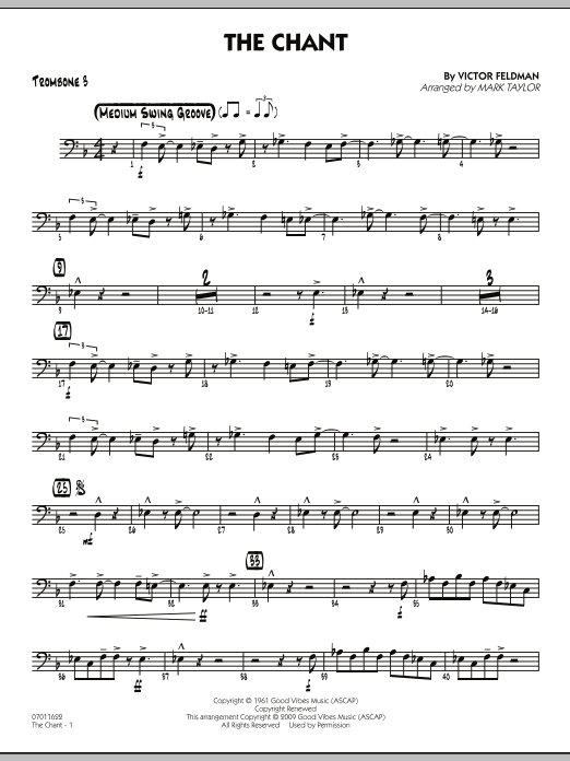 Mark Taylor The Chant - Trombone 3 sheet music notes and chords. Download Printable PDF.