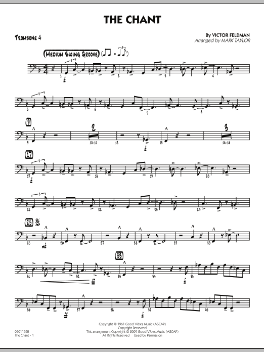 Mark Taylor The Chant - Trombone 4 sheet music notes and chords. Download Printable PDF.