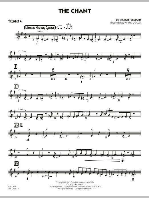 Mark Taylor The Chant - Trumpet 4 sheet music notes and chords. Download Printable PDF.