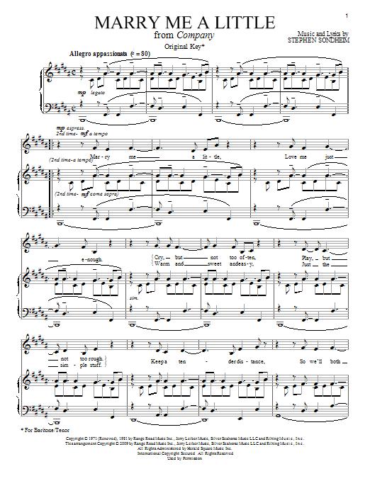 Stephen Sondheim Marry Me A Little sheet music notes printable PDF score