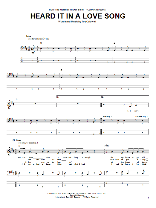 Marshall Tucker Band Heard It In A Love Song sheet music notes and chords. Download Printable PDF.