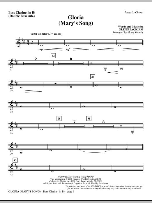 Marty Hamby Gloria (Mary's Song) - Bass Clar. (Double Bass sub.) sheet music notes printable PDF score