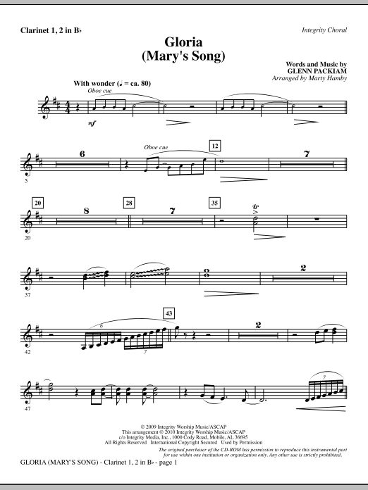 Marty Hamby Gloria (Mary's Song) - Clarinet 1 & 2 sheet music notes printable PDF score