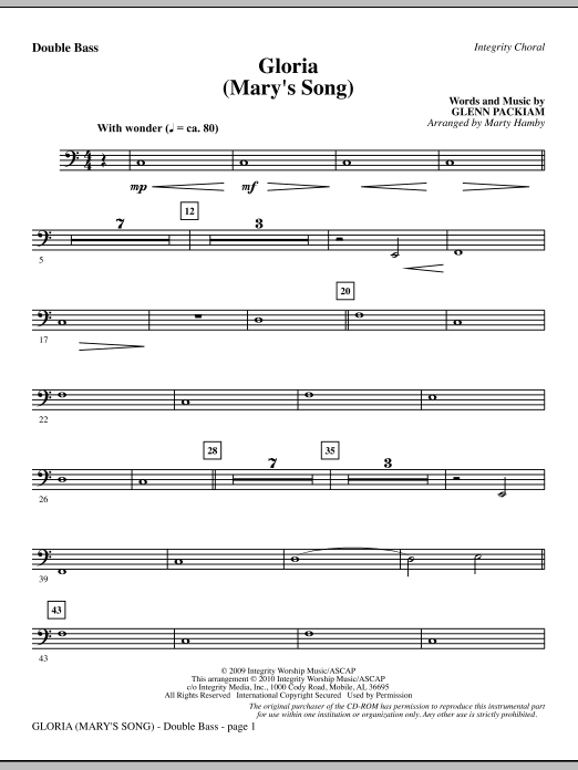 Marty Hamby Gloria (Mary's Song) - Double Bass sheet music notes printable PDF score