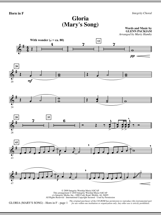 Marty Hamby Gloria (Mary's Song) - F Horn sheet music notes printable PDF score