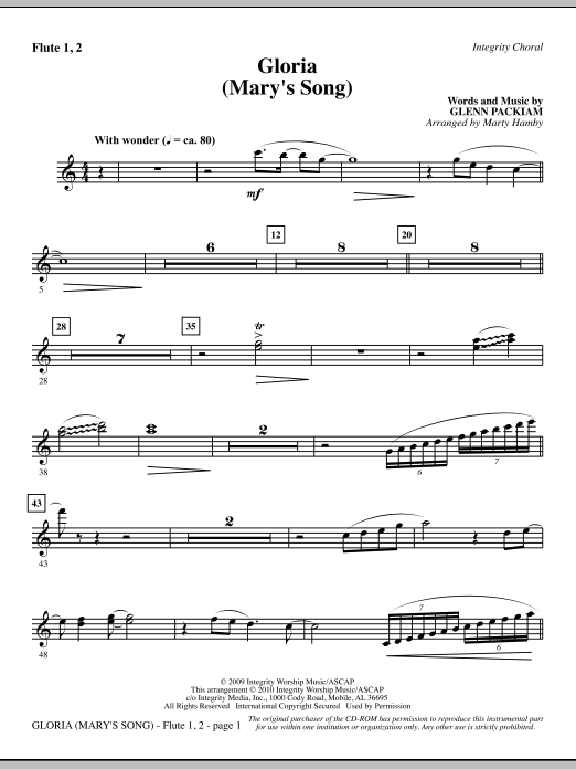 Marty Hamby Gloria (Mary's Song) - Flute 1 & 2 sheet music notes printable PDF score