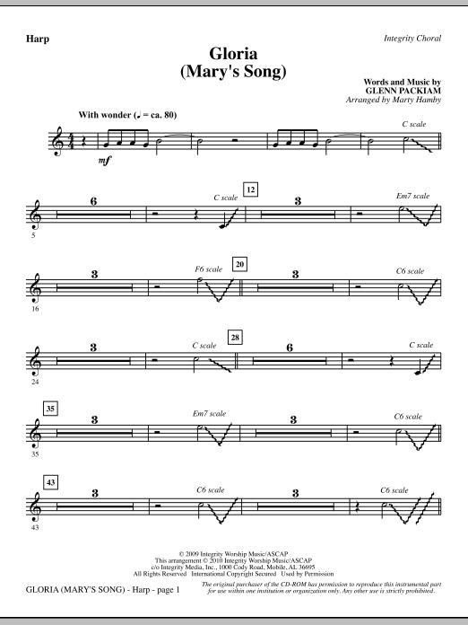 Marty Hamby Gloria (Mary's Song) - Harp sheet music notes printable PDF score