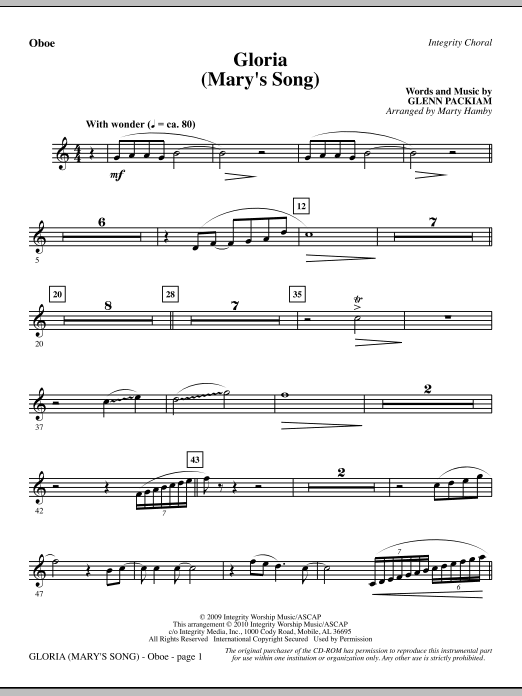 Marty Hamby Gloria (Mary's Song) - Oboe sheet music notes printable PDF score
