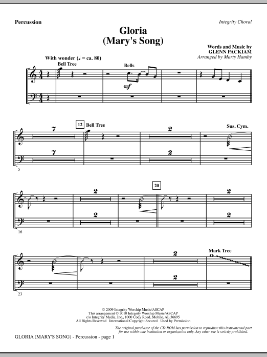 Marty Hamby Gloria (Mary's Song) - Percussion sheet music notes printable PDF score