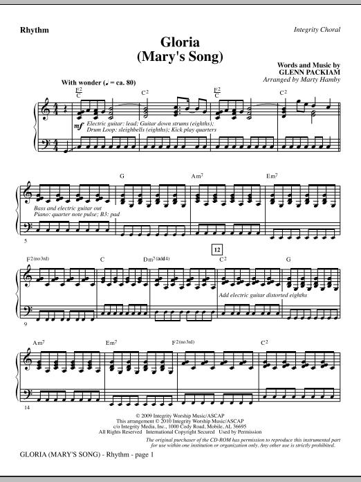Marty Hamby Gloria (Mary's Song) - Rhythm sheet music notes printable PDF score