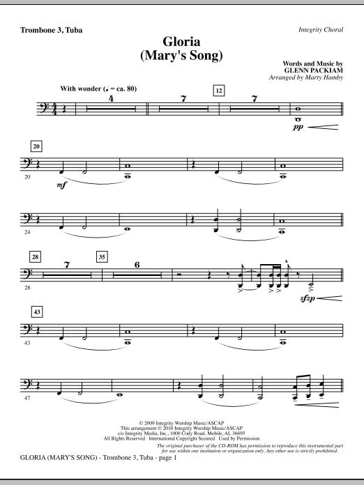 Marty Hamby Gloria (Mary's Song) - Trombone 3/Tuba sheet music notes printable PDF score