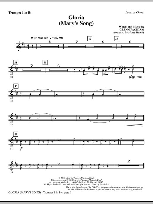 Marty Hamby Gloria (Mary's Song) - Trumpet 1 sheet music notes printable PDF score