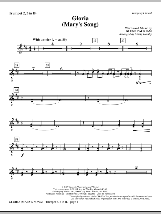 Marty Hamby Gloria (Mary's Song) - Trumpet 2 & 3 sheet music notes printable PDF score