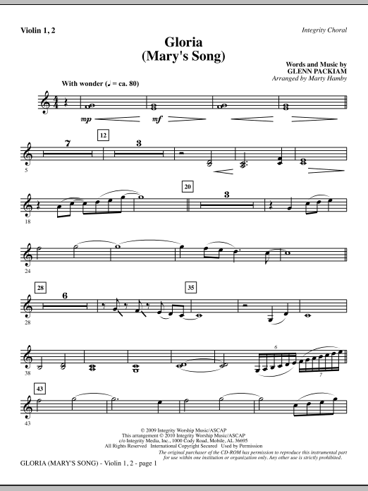 Marty Hamby Gloria (Mary's Song) - Violin 1, 2 sheet music notes printable PDF score