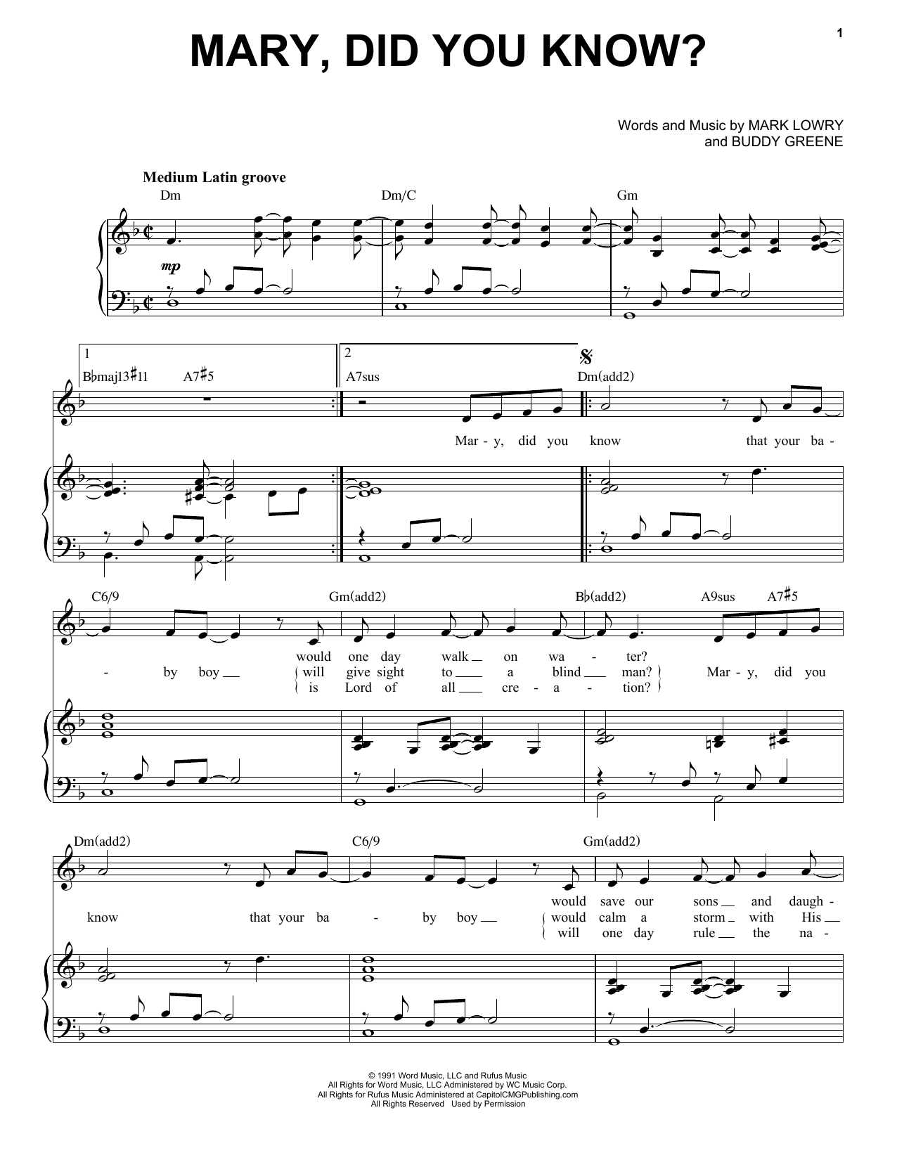 Mark Lowry & Buddy Greene Mary, Did You Know? [Jazz Version] (arr. Brent Edstrom) sheet music notes printable PDF score