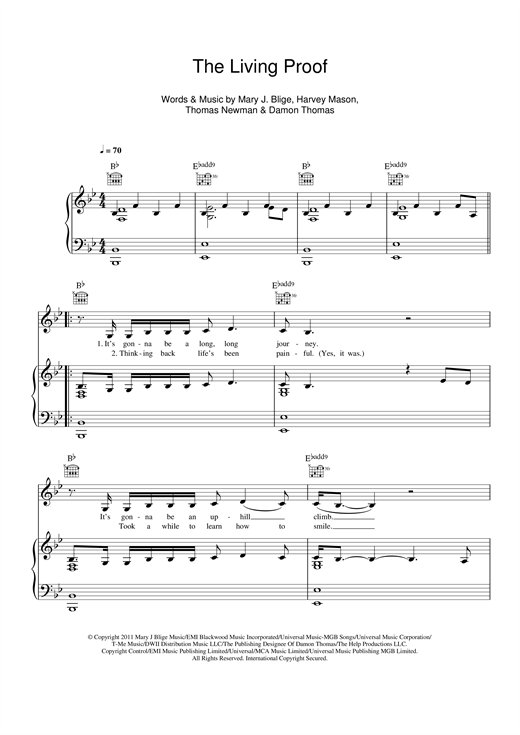 Mary J. Blige Living Proof (From The Help) sheet music notes and chords - download printable PDF.