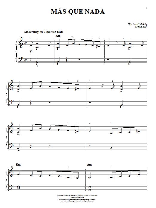 Sergio Mendes Mas Que Nada sheet music notes printable PDF score