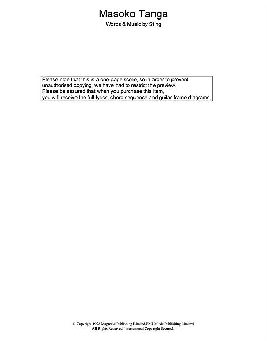 The Police Masoko Tanga sheet music notes printable PDF score