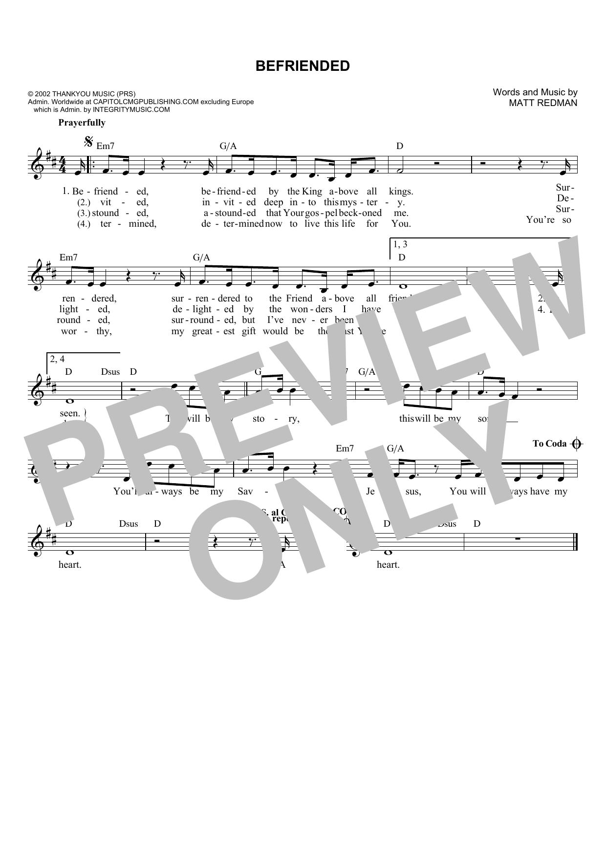 Matt Redman Befriended sheet music notes and chords. Download Printable PDF.