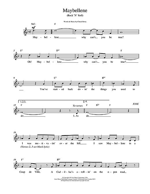 Chuck Berry Maybellene sheet music notes printable PDF score