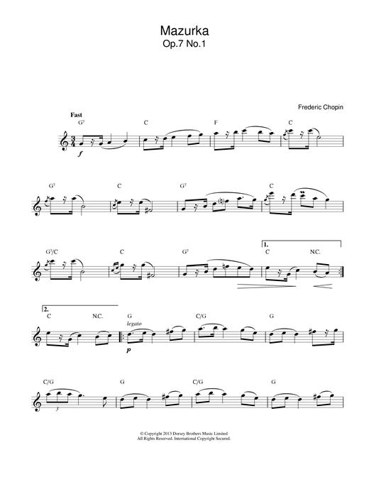 Frederic Chopin Mazurka Op.7, No.1 sheet music notes printable PDF score