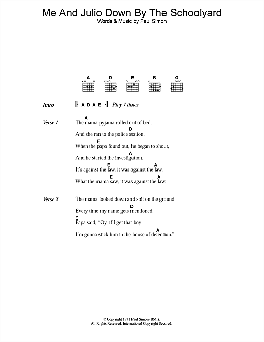 Paul Simon Me And Julio Down By The Schoolyard sheet music notes printable PDF score