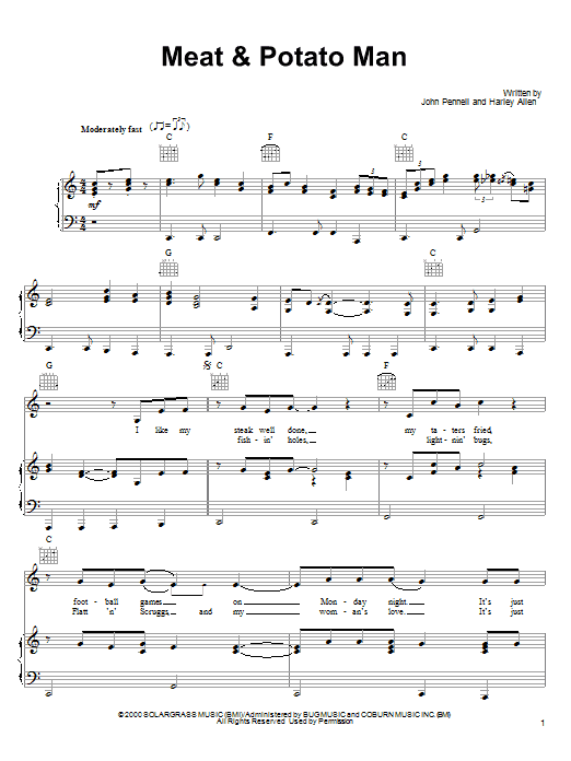 Alan Jackson Meat & Potato Man sheet music notes printable PDF score