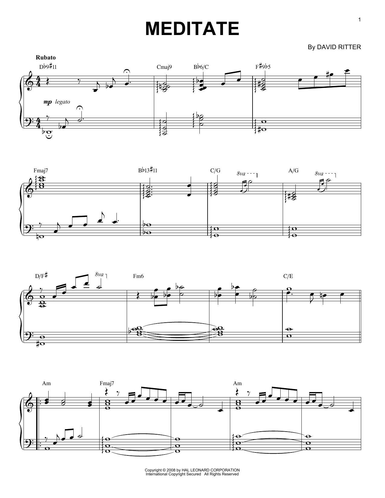 David Ritter Meditate sheet music notes printable PDF score