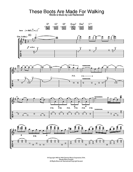 Megadeth These Boots Are Made For Walking sheet music notes printable PDF score