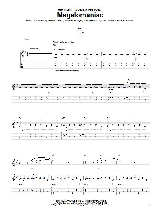 Incubus Megalomaniac sheet music notes printable PDF score