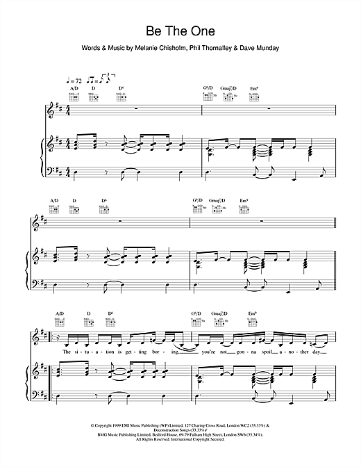 Melanie C Be The One sheet music notes printable PDF score