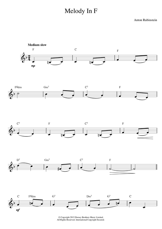 Anton Rubinstein Melody In F sheet music notes printable PDF score