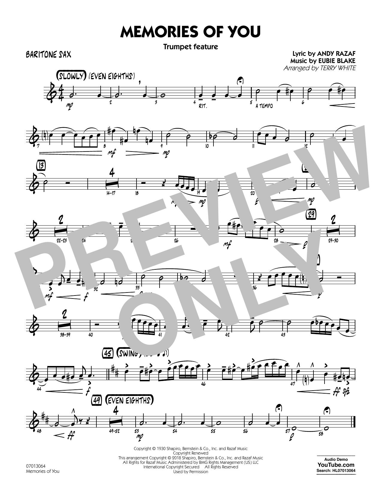 Terry White Memories of You (Trumpet Feature) - Baritone Sax sheet music notes printable PDF score