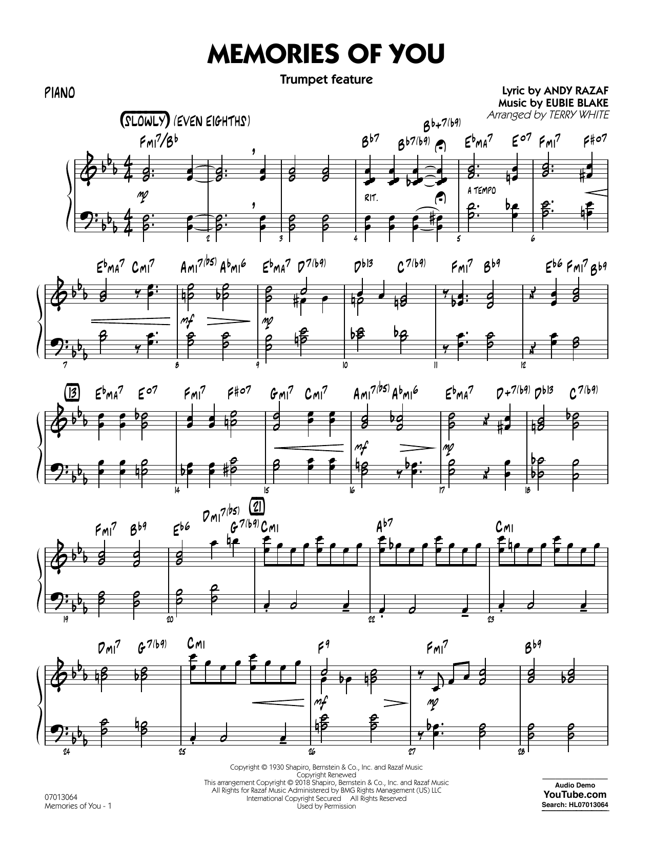 Terry White Memories of You (Trumpet Feature) - Piano sheet music notes printable PDF score