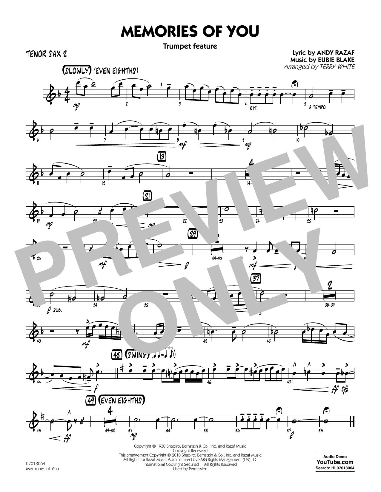 Terry White Memories of You (Trumpet Feature) - Tenor Sax 2 sheet music notes printable PDF score
