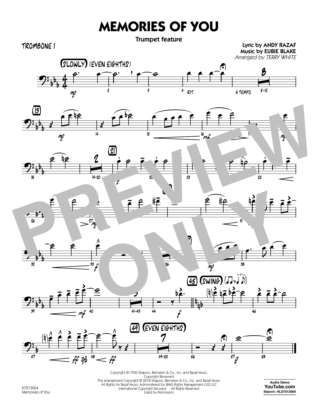 Terry White Memories of You (Trumpet Feature) - Trombone 1 sheet music notes printable PDF score