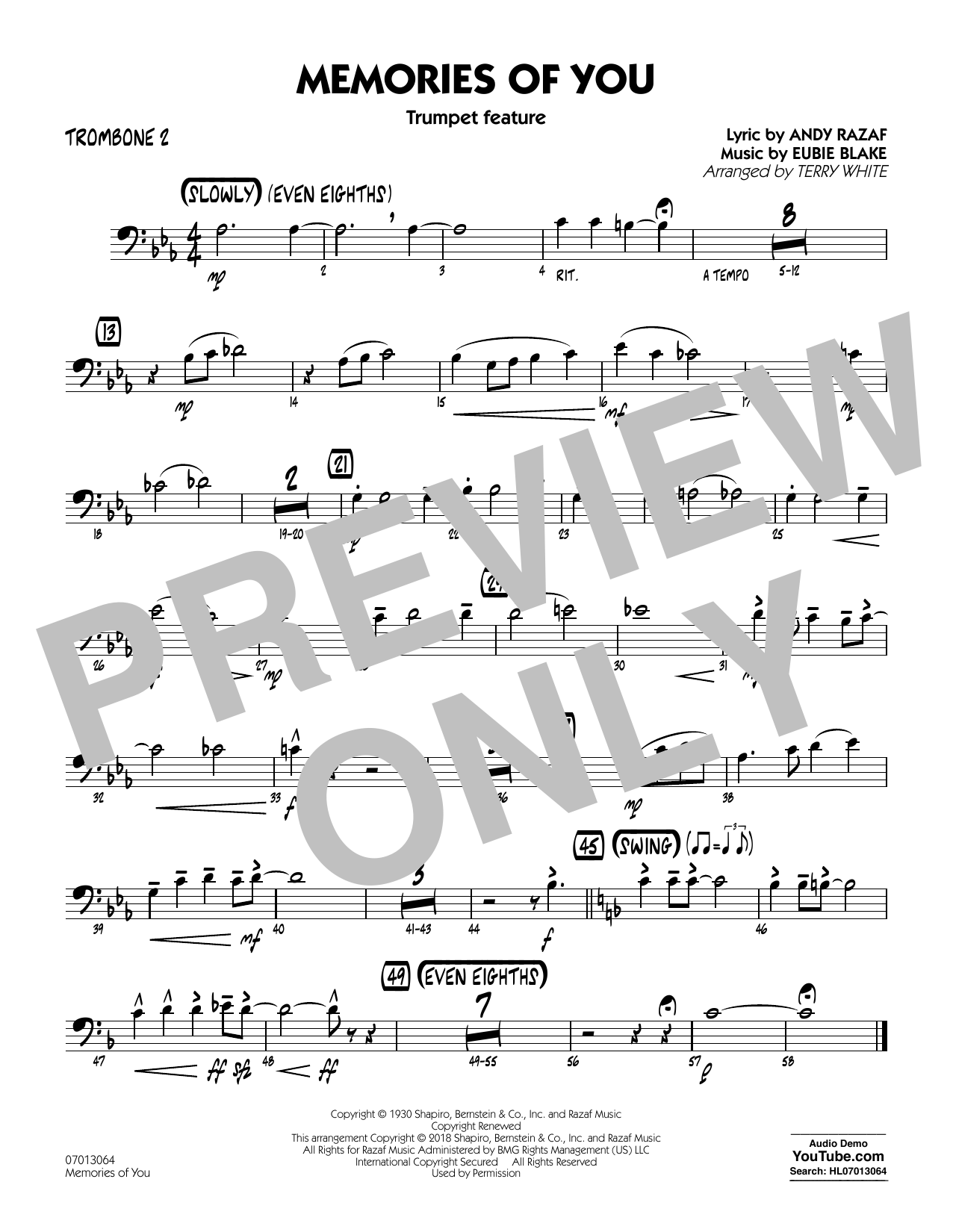 Terry White Memories of You (Trumpet Feature) - Trombone 2 sheet music notes printable PDF score