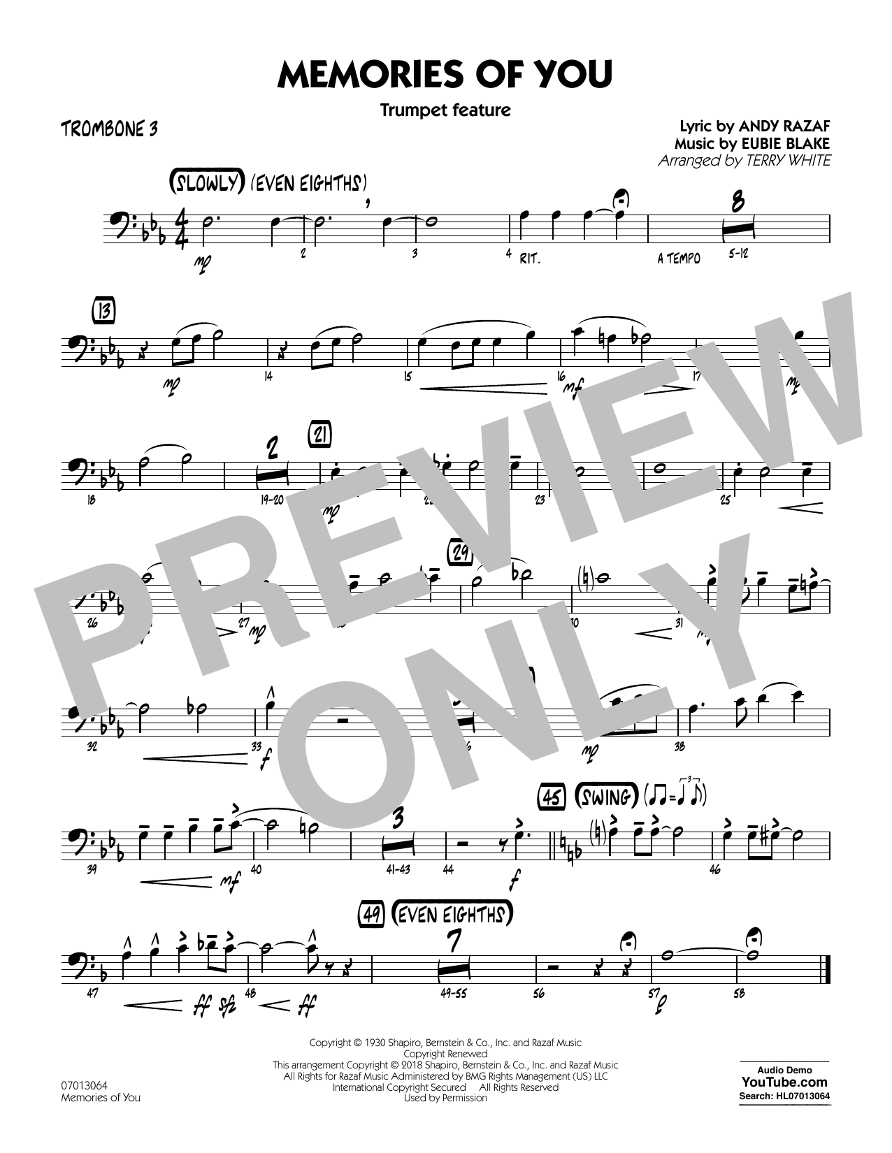 Terry White Memories of You (Trumpet Feature) - Trombone 3 sheet music notes printable PDF score