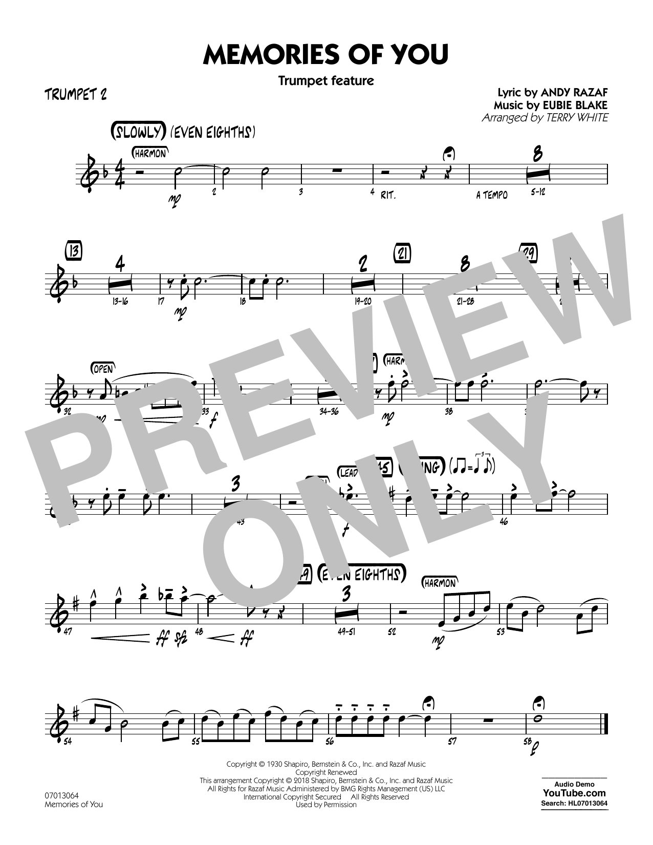 Terry White Memories of You (Trumpet Feature) - Trumpet 2 sheet music notes printable PDF score