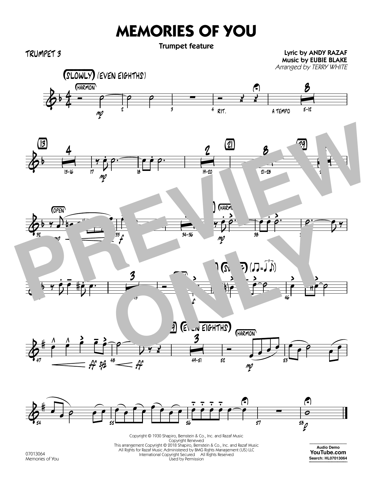 Terry White Memories of You (Trumpet Feature) - Trumpet 3 sheet music notes printable PDF score