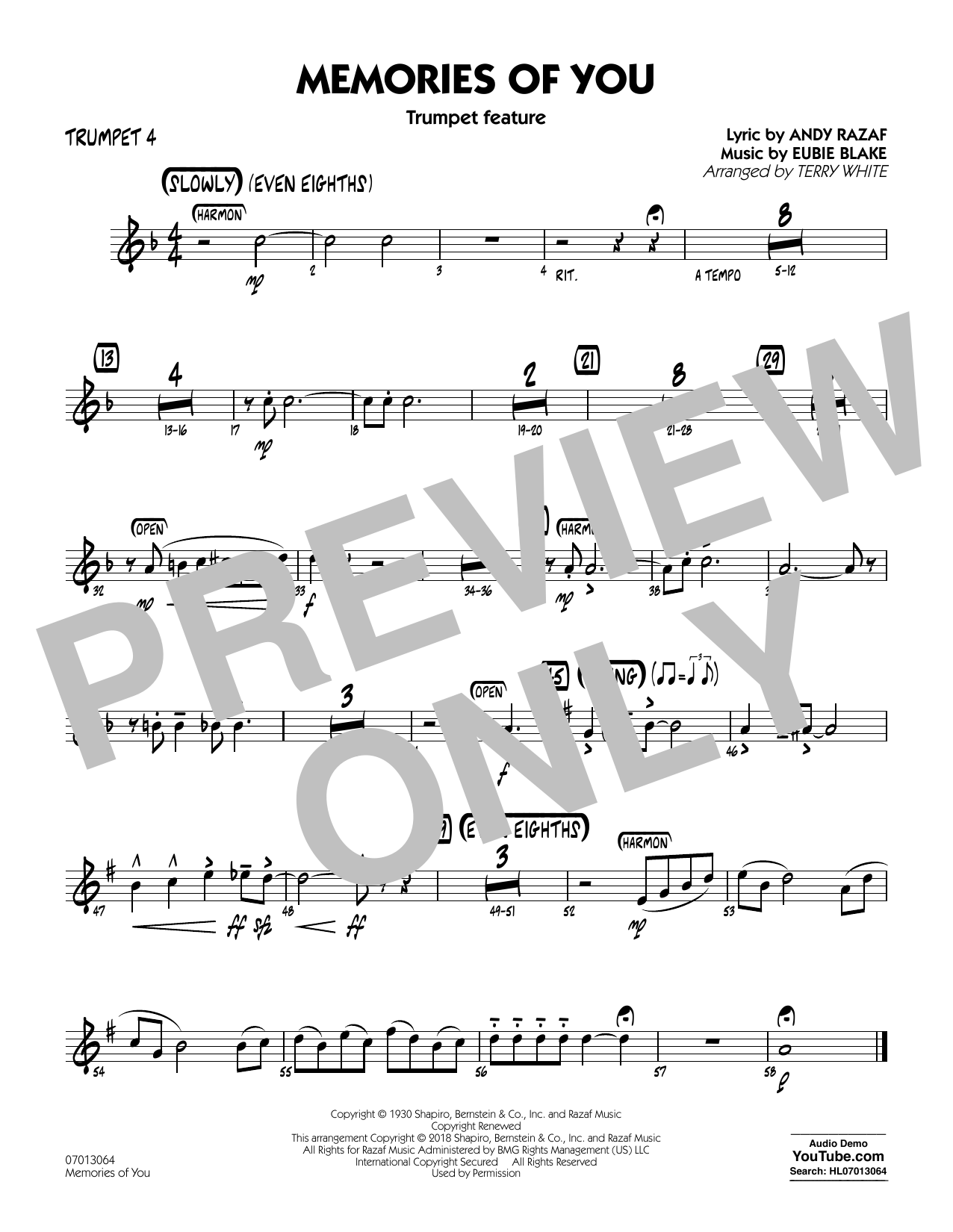 Terry White Memories of You (Trumpet Feature) - Trumpet 4 sheet music notes printable PDF score