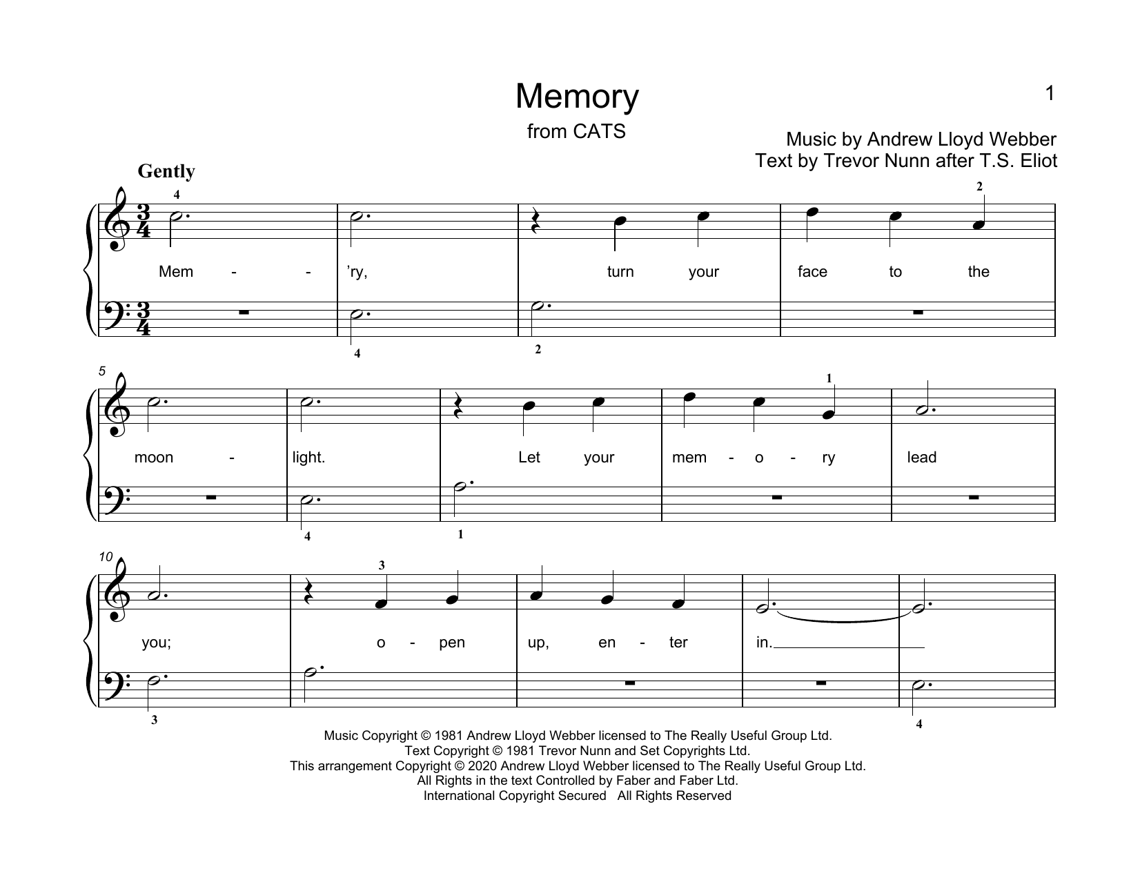 Andrew Lloyd Webber Memory (from Cats) (arr. Christopher Hussey) sheet music notes printable PDF score