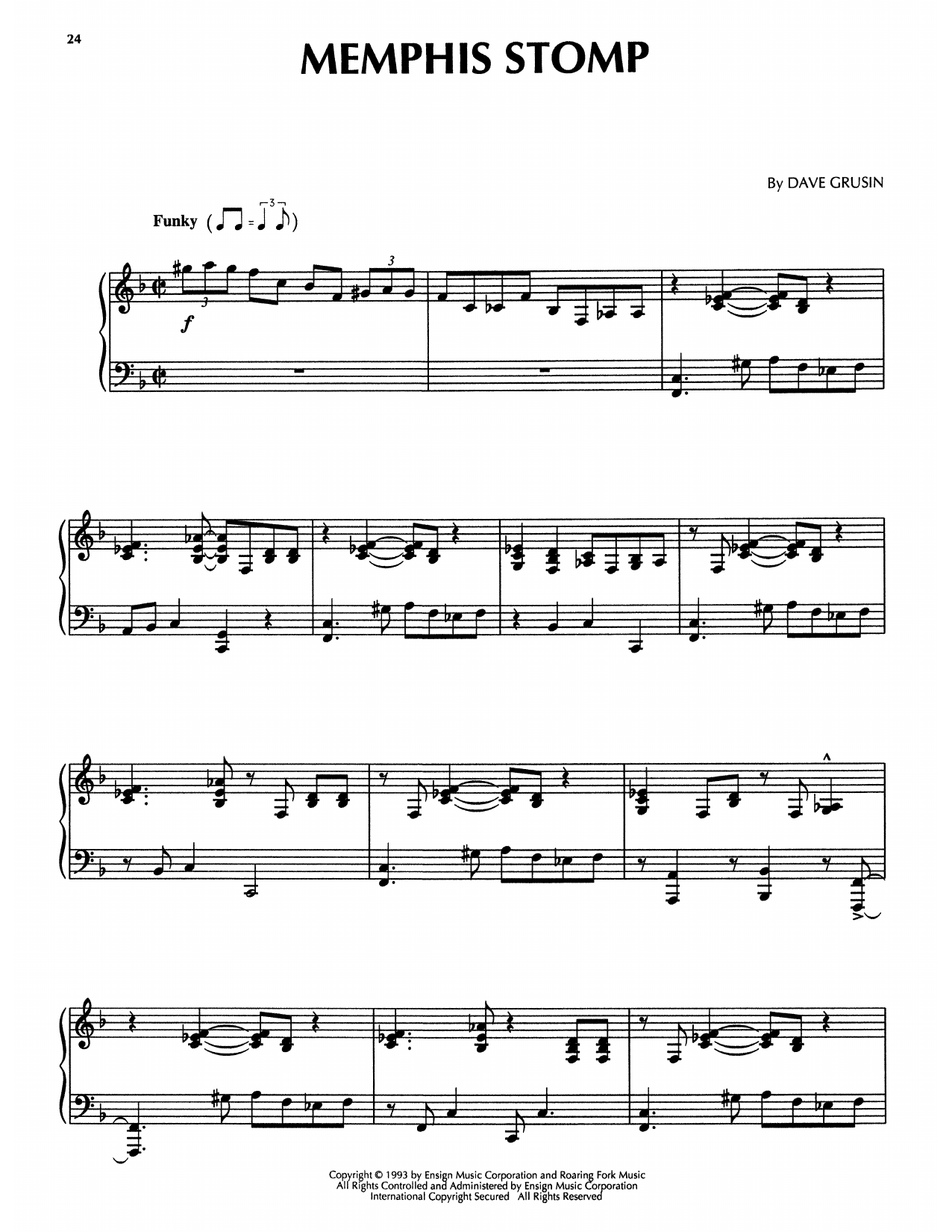 Dave Grusin Memphis Stomp (from The Firm) sheet music notes printable PDF score