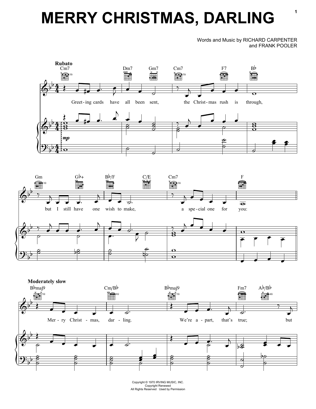 Carpenters Merry Christmas, Darling sheet music notes printable PDF score