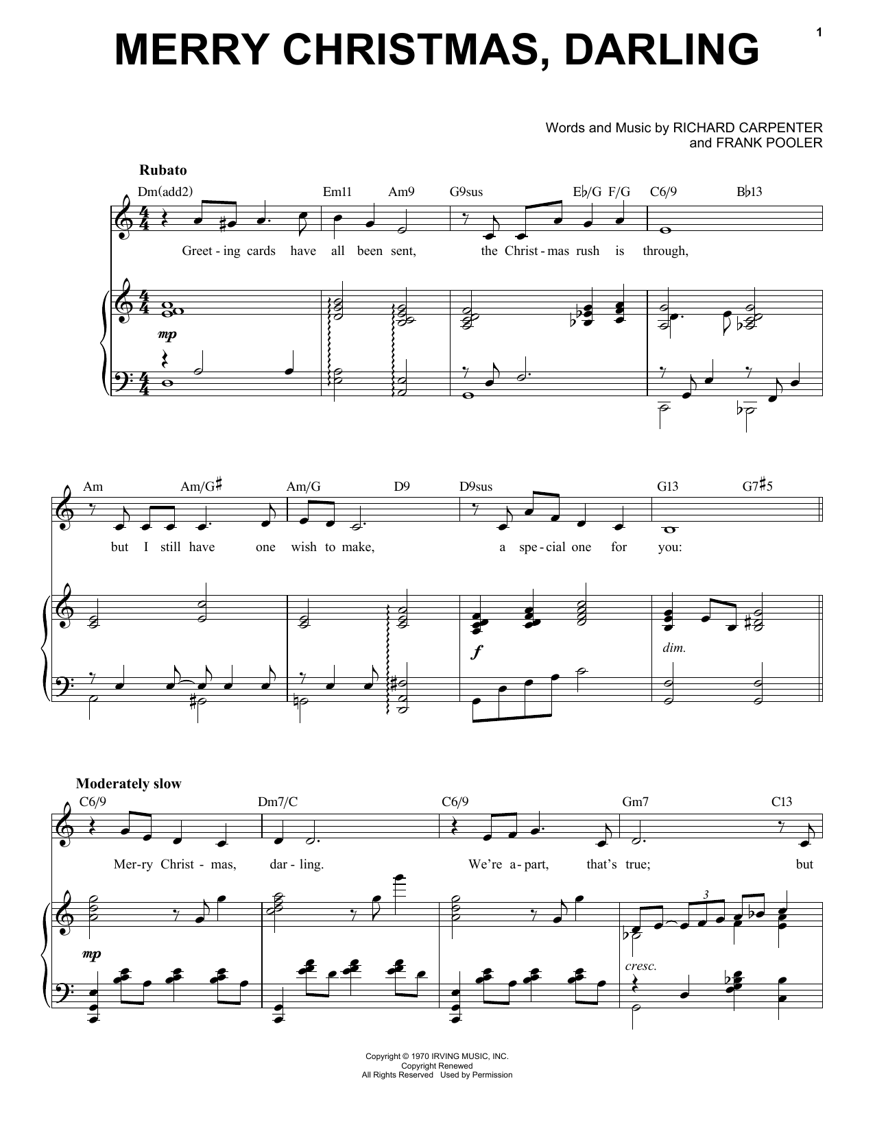 The Carpenters Merry Christmas, Darling [Jazz Version] (arr. Brent Edstrom) sheet music notes printable PDF score